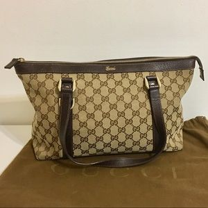 Authentic Gucci brown canvas Shoulder bag